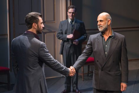 "Michael Aronov, Jefferson Mays and Anthony Azizi in ""Oslo"" (Photo: T Charles Erickson)"