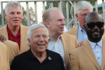 Robert Kraft, in black shirt, with Hall of Famers Marshall Faulk, right, and, in rear, from left, Ron Yary, Roger Staubach and Dave Casper in Ramat Hasharon, Israel, June 15, 2017. (Hillel Kuttler)
