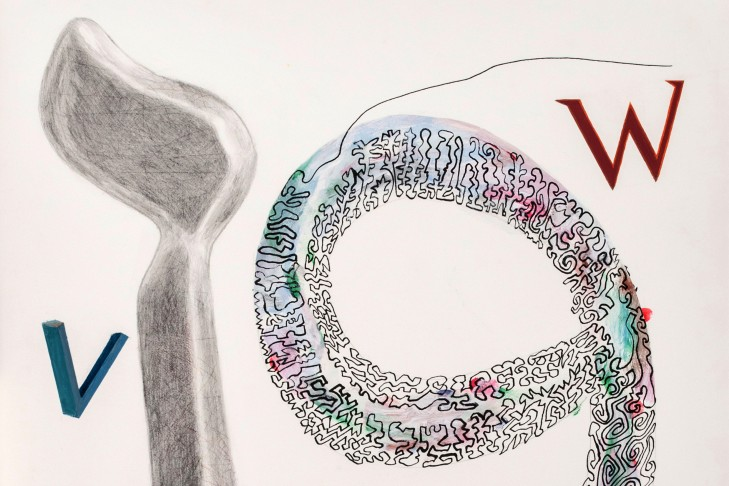 "The Arabic letter ""Waaw"" and Hebrew ""Vav,"" with V and W (mixed media on paper by Joel Moskowitz)"