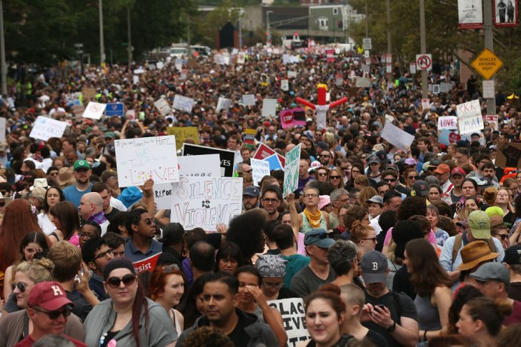 """Thousands of protesters march in Boston against a """"Free Speech Rally"""" on Aug. 19, 2017. (Photo by Spencer Platt/Getty Images)"""