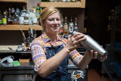 "08/28/17 -- Somerville, MA -- Melinda Maddox creates the ""Sunset Sour"" cocktail."