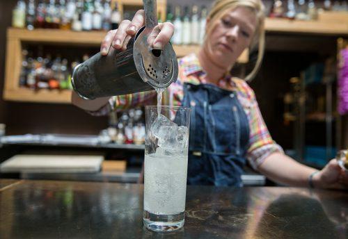 "08/28/17 -- Somerville, MA -- Melinda Maddox creates the ""Symbols & Seltzer"" cocktail."