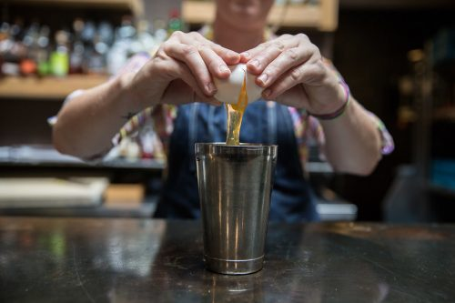 "08/28/17 -- Somerville, MA -- Melinda Maddox creates the ""Yom Tov Flip"" cocktail."