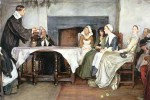 19th-century painting of a Quaker prayer meeting