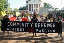 Community defense march in Charlottesville on June 3, 2017 (Courtesy Charlottesville activists)