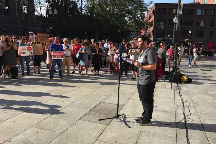 Elias Rosenfeld speaks at a rally at Boston's Faneuil Hall hours after President Trump announced he was rescinding DACA protections for some 800,000 young people on Sept. 5, 2017. (Photo: Jeremy Burton/JCRC of Greater Boston)