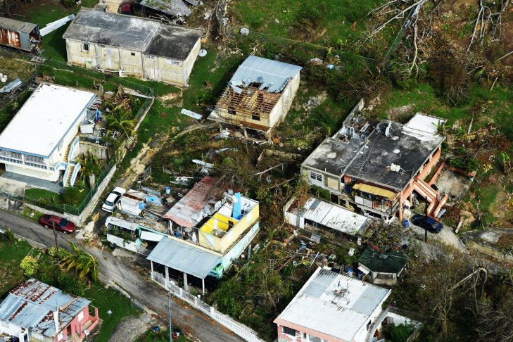Overhead view of damage in Puerto Rico (Air Force photo by Airman 1st Class Nicholas Dutton)