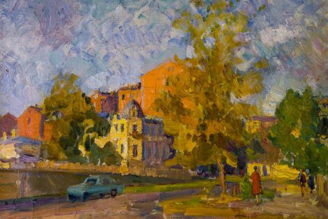 "Alexey Aizenman's ""Moscow Landscape,"" oil on canvas, collection of Vladimir and Vera Torchilin (Image courtesy Ballets Russes Arts Initiative)"