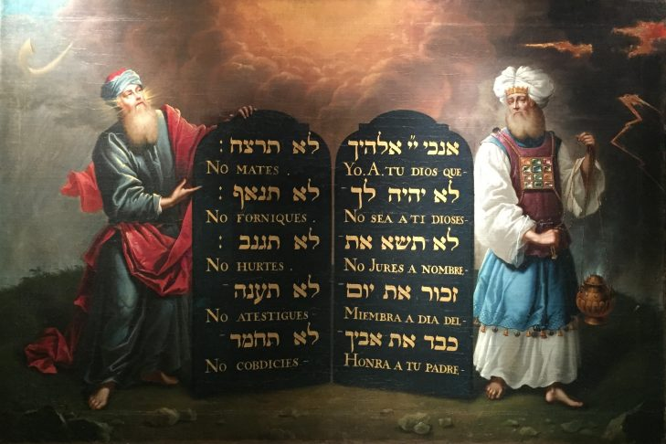 """Moses and Aaron with the 10 Commandments"" by Aron de Chaves"