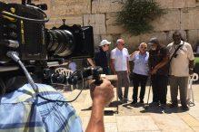 Roger Staubach, Joe Montana, Robert Kraft, Jim Brown and Joe Greene, from left, at the Western Wall in Israel (Courtesy NFL Films)