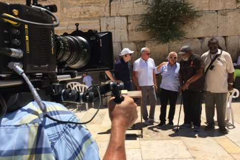Roger Staubach, Joe Montana, Robert Kraft, Jim Brown and Joe Greene, from left, at the Western Wall in Israel (Courtesy NFL Films)