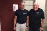 Zach Franco, health club attendant, and his manager, Tony, at JCC Greater Boston (Courtesy photo)