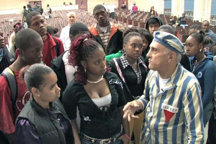 "Steve Ross speaks with Boston high school students in the documentary ""Etched in Glass: The Legacy of Steve Ross"" (Courtesy photo)"
