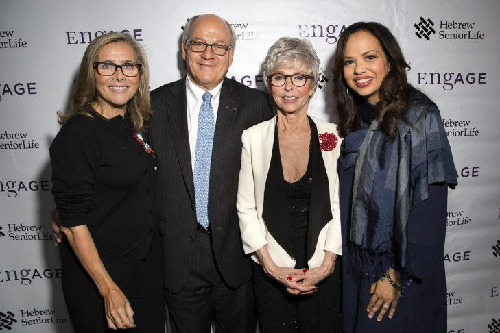 From left, Meredith Vieira, Lou Woolf, Hebrew SeniorLife President & CEO, Rita Moreno and Dr. Mallika Marshall. (Courtesy photo)