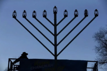 The 22-foot menorah on Boston Common last year. (CRAIG F. WALKER/GLOBE STAFF)