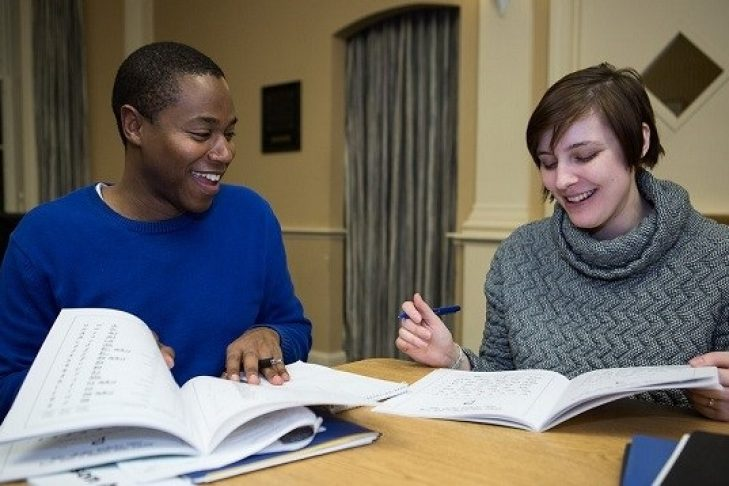Two people studying together