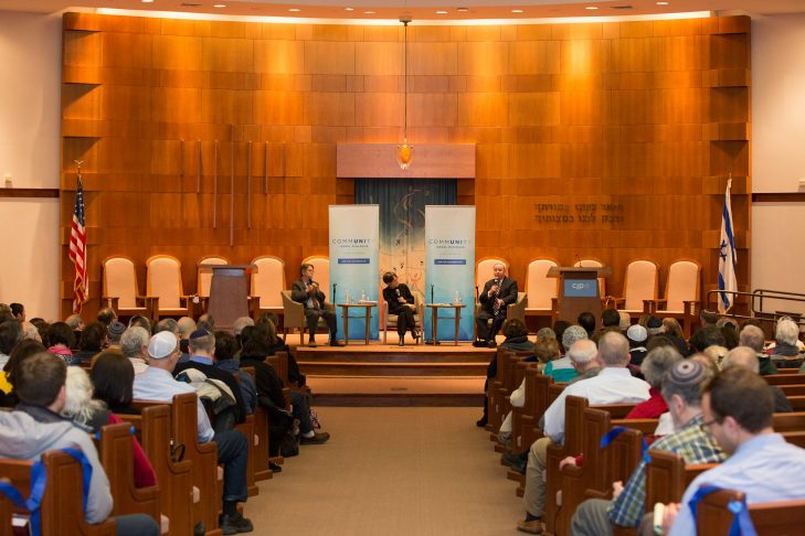 Columnists J.J. Goldberg, left, and Jonathan Tobin, right, discuss Israel with Rabbi Sharon Anisfeld (Courtesy photo)