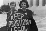Norma McCorvey (Jane Roe) and her lawyer Gloria Allred on the steps of the Supreme Court in 1989 (Photo: Lorie Shaull)