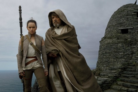 "Daisy Ridley as Rey and Mark Hamill as Luke Skywalker in ""Star Wars: The Last Jedi"" (Promotional still)"