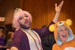 Rabbi Matthew Soffer and Rabbi Elaine Zecher at a previous Purim party (Courtesy photo)