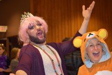 Rabbi Matthew Soffer and Rabbi Elaine Zecher at a previous Purim party (Courtesy photo)