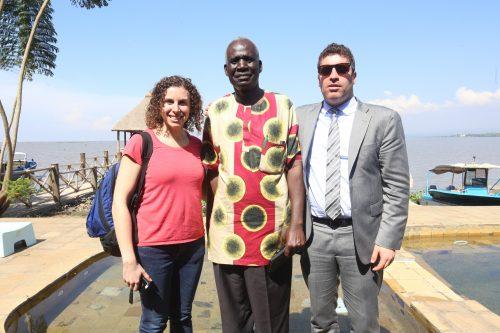 Staci Weber, James Aggrey Otieno, former principal of Joel Omino Secondary School and Matan Zamir, Israel's Deputy Consul General to New England (Courtesy photo)