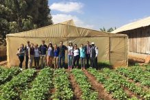 """The Project Inspire crew with Albert Kamatu, recipient of Project Inspire's """"best dressed and most economically sustainable farmer award"""" (Courtesy photo)"""