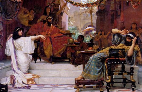 """Esther Denouncing Haman"" by Ernest Normand"