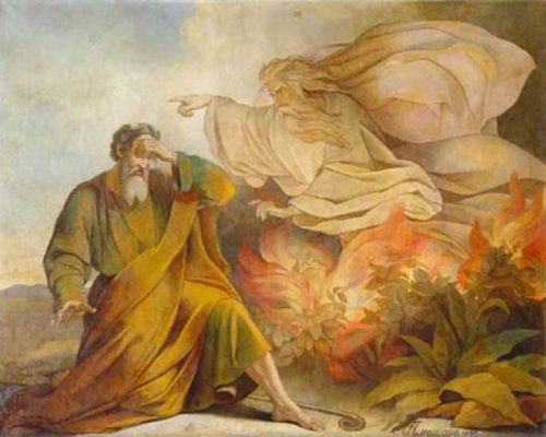 """God Appears to Moses in Burning Bush""Eugene Pluchart"