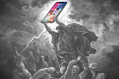 """Moses and the iPhone"" by Miriam Anzovin (Derivative of ""Moses Breaks the Tablets of the Law"" by Gustave Doré/WikiCommons)"