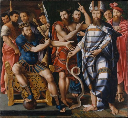 """Moses and Aaron before Pharaoh: An Allegory of the Dinteville Family""Master of the Dinteville Allegory"