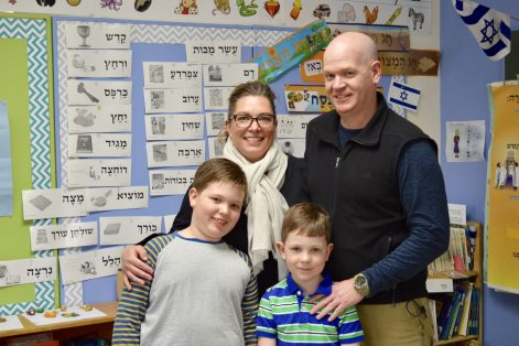 Aimee Stashak-Moore, David Moore, second-grader Lucian Moore and first-grader Harlan Moore (Courtesy Epstein Hillel School)