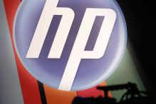 REFERRAL - In this Sept. 20, 2010, file photo, the corporate logo for Hewlett-Packard Co. is displayed at an HP Innovation Summit in New York. (AP Photo/Mark Lennihan, File)