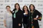 Left to right: Ruby Russell, alum of Alexander Muss High School in Israel and Impact Fellow; Rhonda Forman, New England sapphire president; Risa Aronson, New England Women for Israel chair; and guest speaker Nina Manolson, psychology of eating coach, body-trust provider and board-certified wellness coach (Courtesy JNF)