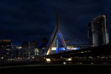 REFERRAL: Blue lights on the Zakim Bridge to celebrate Israeli Independence Day. (KIERAN KESNER)