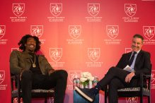 Amar'e Stoudemire, left, speaking with Jon Frankel at the Israel Summit at Harvard University in Cambridge, Mass., April 8, 2018. (Collin Howell/Israel Summit at Harvard)