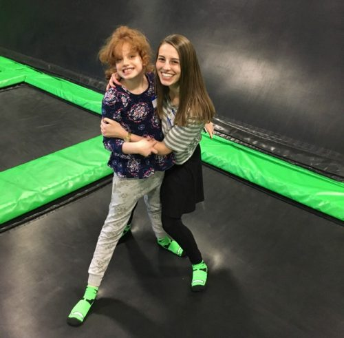 Yachad participant Emily (left) and Abby at an event at Launch Trampoline Park. (Courtesy photo)