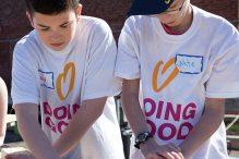 Last year, volunteers Jared Kasten and Nate Samuels helped build picnic tables.