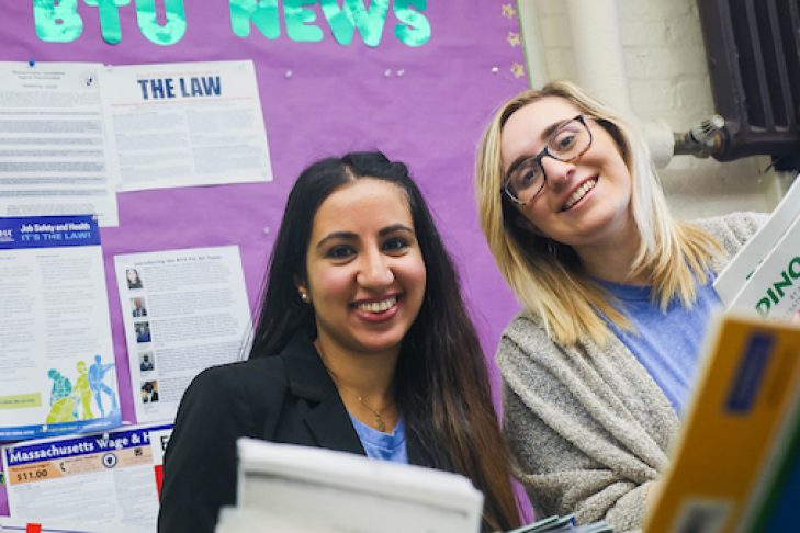 Students transformed the staff lounge at Curtis Guild Elementary School in East Boston in advance of Teacher Appreciation Day (Courtesy Israel Campus Roundtable)