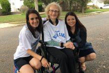 Volunteer Sarah Mizrachi, Holocaust survivor Irene Hizme and The Blue Card executive director Masha Pearl, from left (Courtesy The Blue Card)