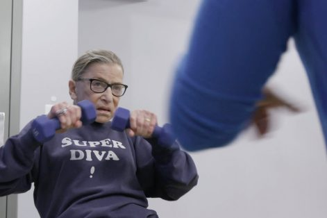 "Justice Ginsburg mid-workout routine in ""RBG,"" a Magnolia Pictures release. (Courtesy Magnolia Pictures)"
