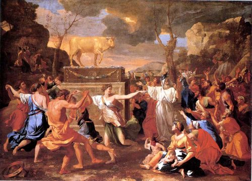 """""""The Adoration of the Golden Calf"""" by Nicolas Poussin"""