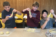Making challah in BJEP's cooking elective (Courtesy BJEP)