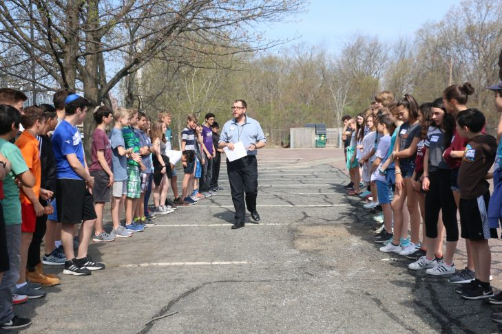 Students from the German International School of Boston and JCDS participate in an activity where students recognized similarities between one another (Courtesy JCDS)