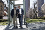 REFERRAL: Steve Ross (left), founder of the New England Holocaust Memorial, walks through the memorial with his son, Mike. (JESSICA RINALDI/GLOBE STAFF)