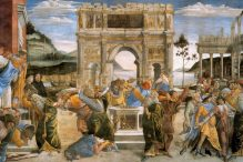 """The Punishment of Korah and the Stoning of Moses and Aaron"" by Sandro Botticelli"