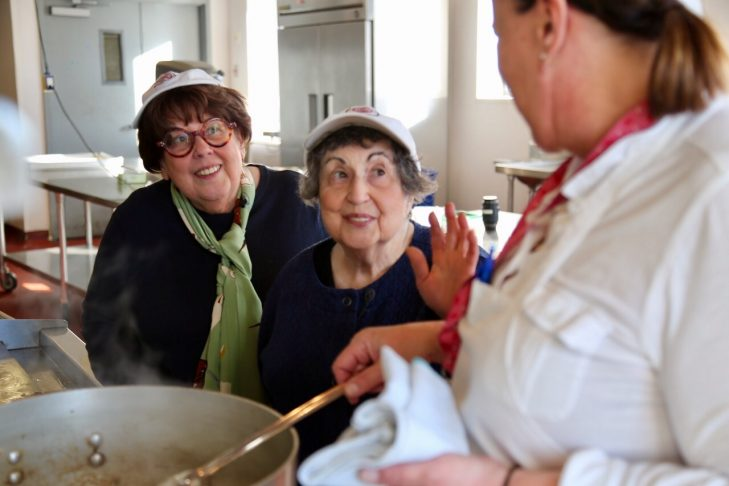 "Marilynn and Sheila Brass prepare to make a leaning tower of savory rugelach on an episode of ""The Food Flirts"" (Photo: Bruce Seidel)"