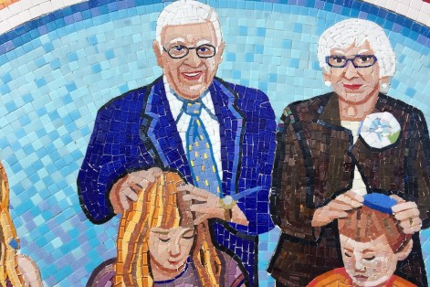 "Part of the mosaic ""From Generation to Generation"" at Epstein Hillel School (Courtesy Joshua Winer)"