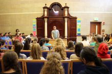 Ohad Poraz, one of the Brothers for Life, speaking with students at The Rashi School (Courtesy The Rashi School)