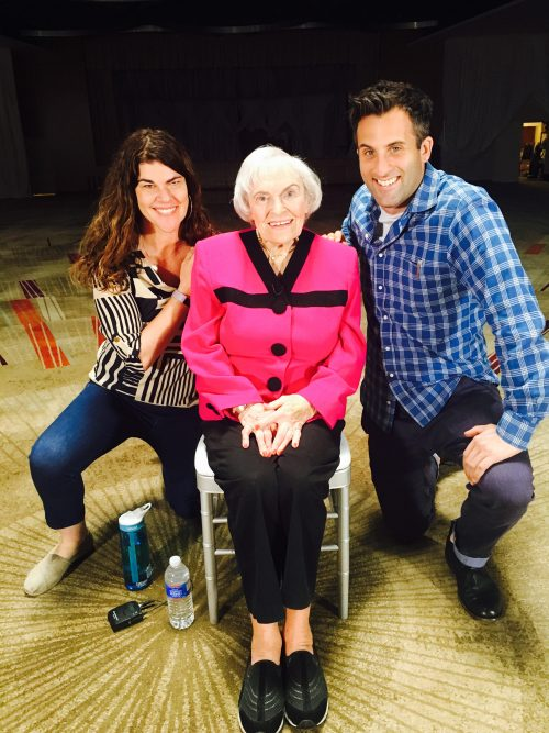 _ Tiffany Woolf and Steve Goldbloom, creators of The Last Act, an online doc series, pose with Phyllis Shlecter, one of the many role models interviewed for this growing series on aging and celebrating those in their 80s and over living a f